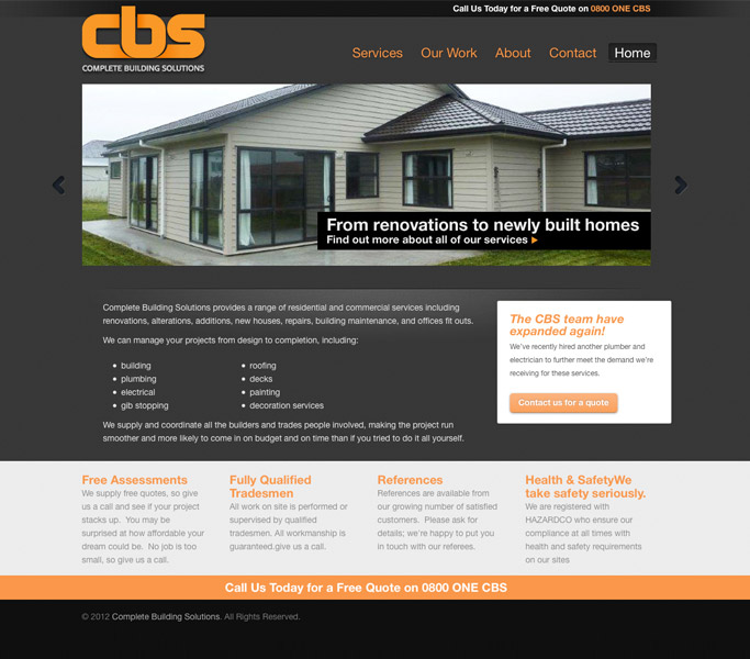 Complete Building Solutions website